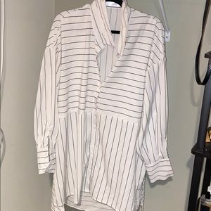 white and black pinstripe long sleeve dress